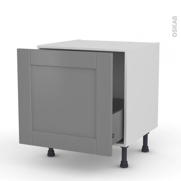 Meuble de cuisine bas coulissant filipen gris 1 porte l60 for Modele porte cuisine