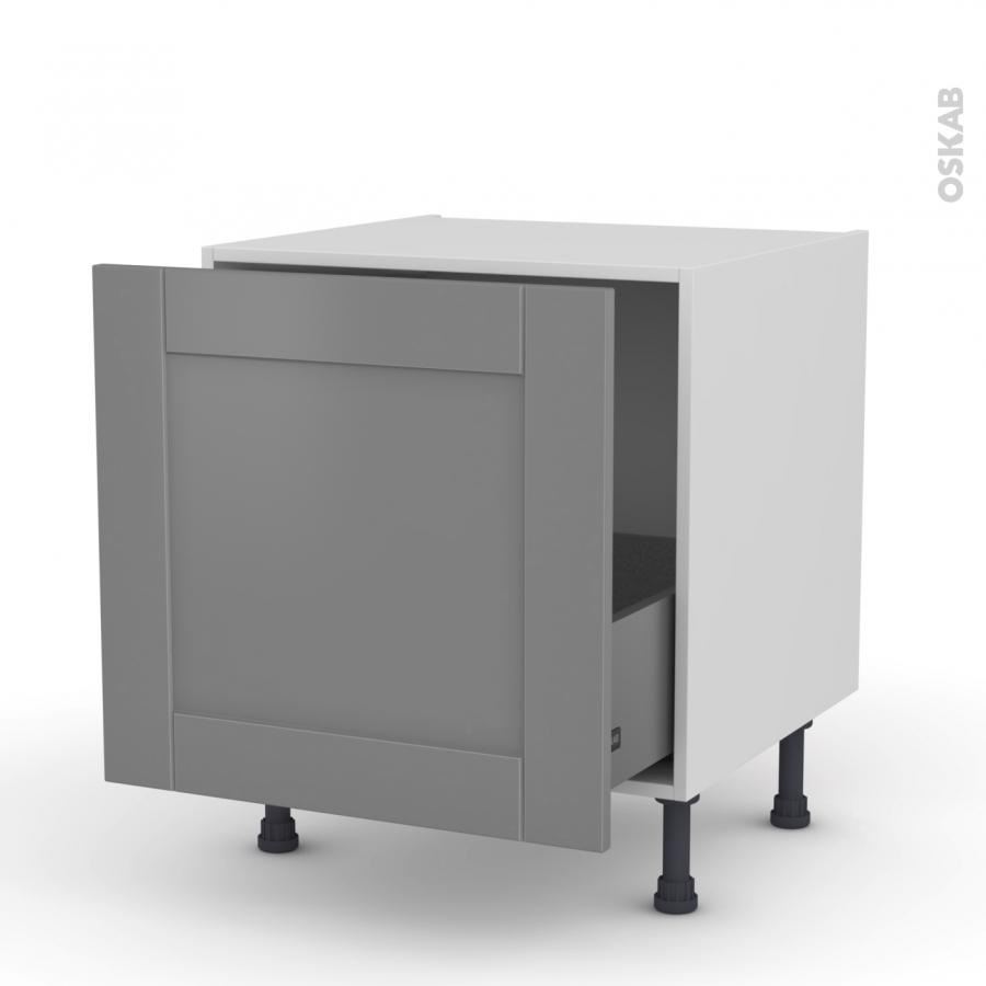 Meuble de cuisine bas coulissant filipen gris 1 porte l60 x h57 x p58 cm oskab - Meuble de cuisine gris ...