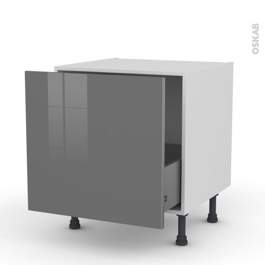 Meuble de cuisine bas coulissant stecia gris 1 porte l60 x for Meuble cuisine coulissant vertical