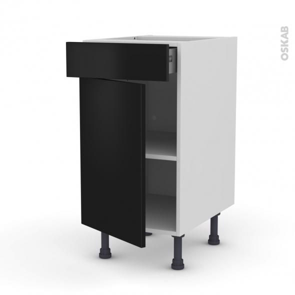 meuble de cuisine bas ginko noir 1 porte 1 tiroir l40 x h70 x p58 cm oskab. Black Bedroom Furniture Sets. Home Design Ideas