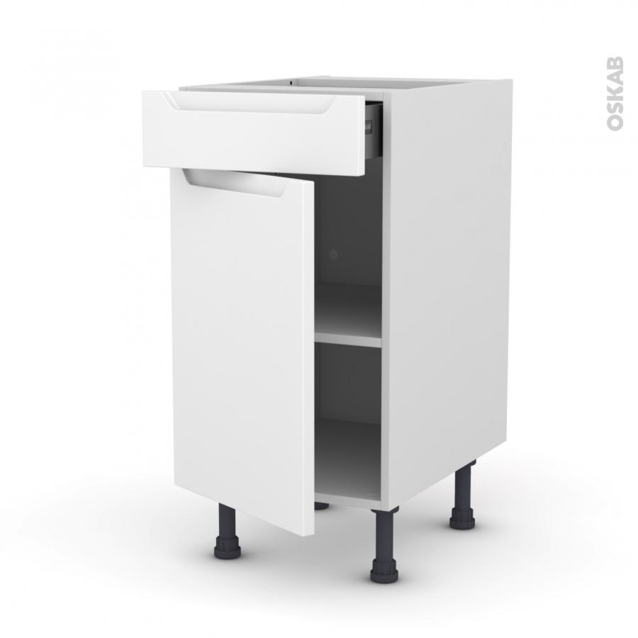 Meuble de cuisine Bas PIMA Blanc 1 porte 1 tiroir L40 x ...