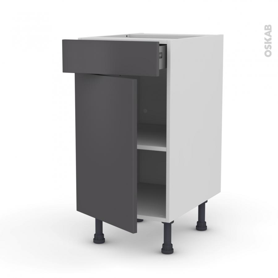 Meuble de cuisine bas ginko gris 1 porte 1 tiroir l40 x - Meuble bas cuisine 1 porte ...