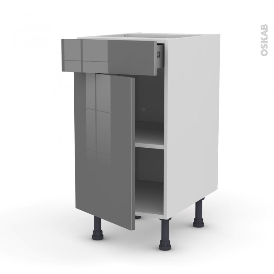 Meuble de cuisine bas stecia gris 1 porte 1 tiroir l40 x for Meuble bas cuisine 20 cm