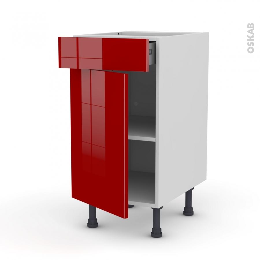 Meuble de cuisine bas stecia rouge 1 porte 1 tiroir l40 x for Meuble bas cuisine rouge