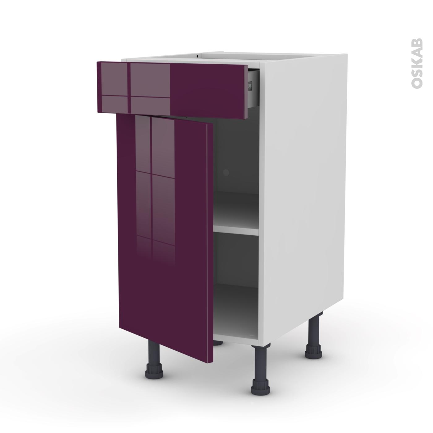 meuble de cuisine bas keria aubergine porte tiroir l x with oskab cuisine 3d. Black Bedroom Furniture Sets. Home Design Ideas