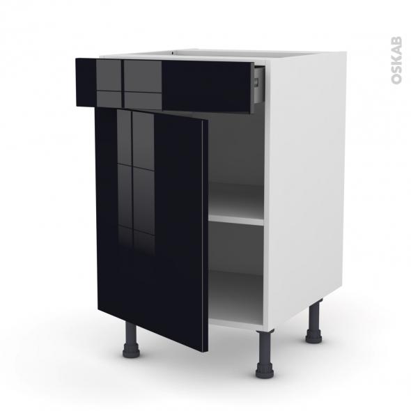 Keria Noir Meuble Bas Cuisine 1 Porte 1 Tiroir L50xh70xp58