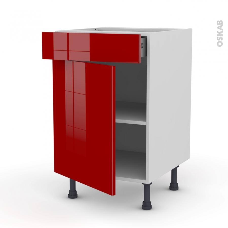 Meuble de cuisine bas stecia rouge 1 porte 1 tiroir l50 x for Meuble cuisine une porte