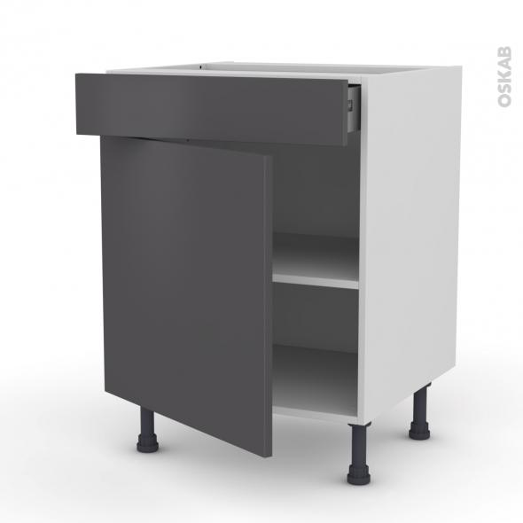 Meuble de cuisine bas ginko gris 1 porte 1 tiroir l60 x for Meuble bas cuisine gris