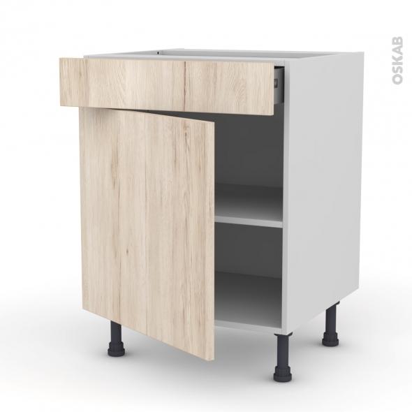 Meuble de cuisine bas ikoro ch ne clair 1 porte 1 tiroir for Porte cuisine chene