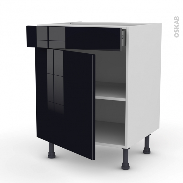 keria noir meuble bas cuisine 1 porte 1 tiroir l60xh70xp58. Black Bedroom Furniture Sets. Home Design Ideas
