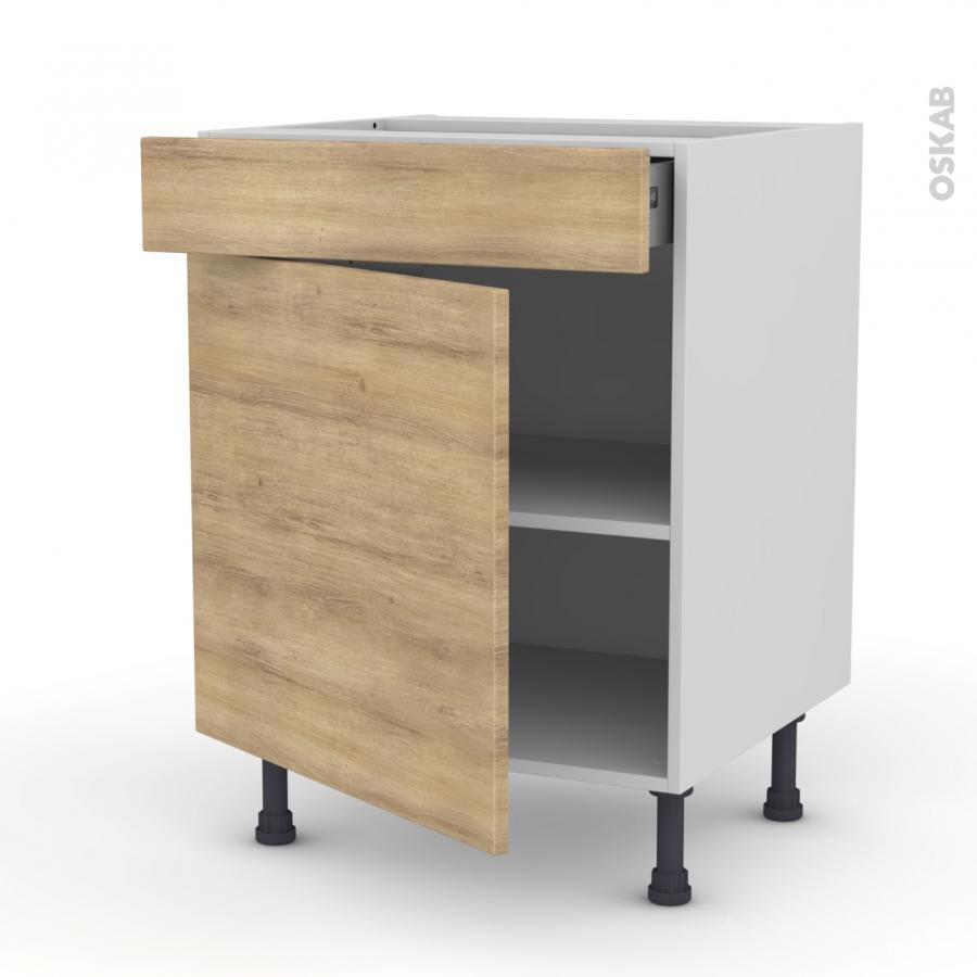 Meuble de cuisine bas hosta ch ne naturel 1 porte 1 tiroir for Meuble cuisine a tiroir