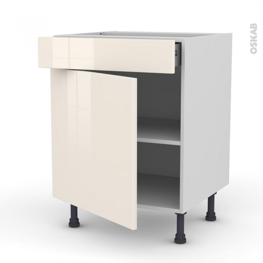 Meuble de cuisine bas keria ivoire 1 porte 1 tiroir l60 x for Meuble cuisine sans porte