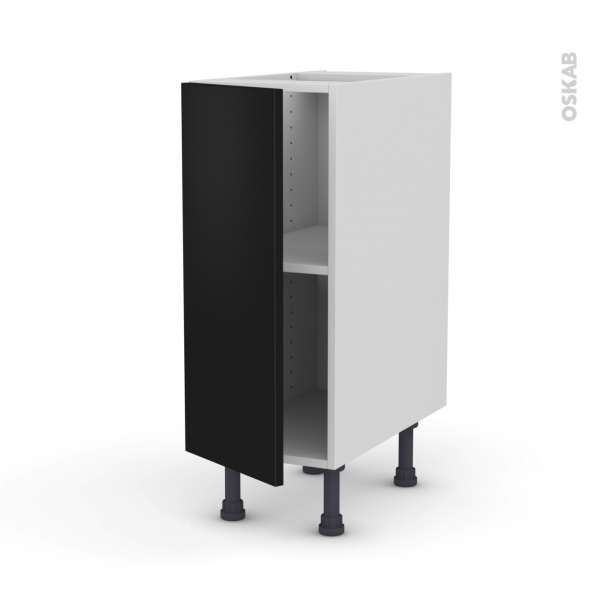 Ginko noir meuble bas cuisine 1 porte l30xh70xp58 oskab for Modele meuble de cuisine