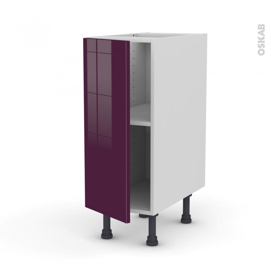Keria aubergine meuble bas cuisine 1 porte l30xh70xp58 oskab for Meuble cuisine aubergine