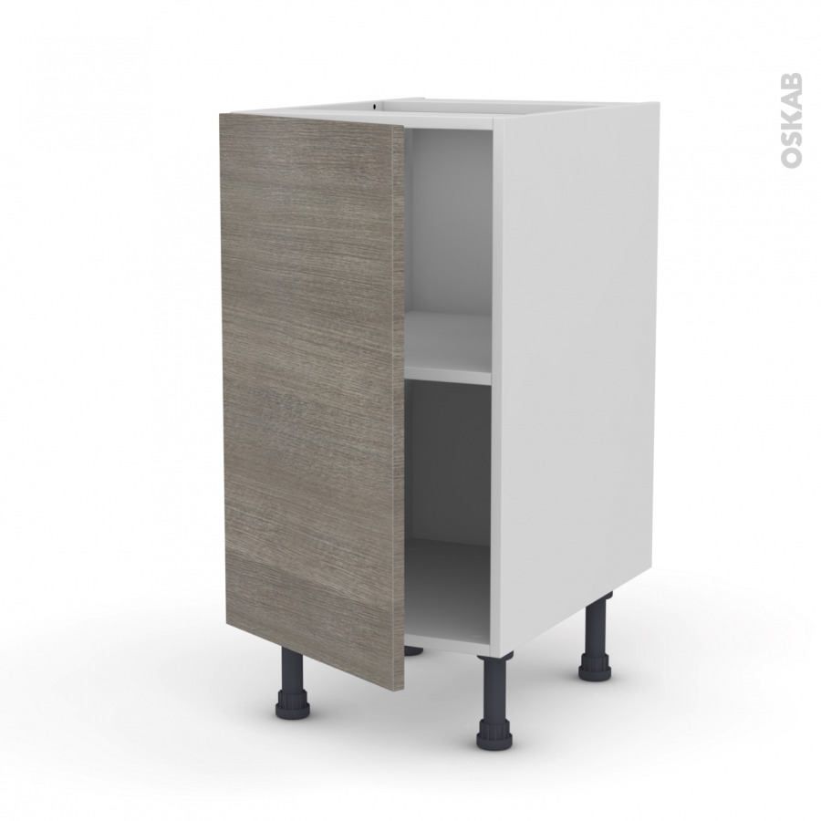 Meuble de cuisine bas stilo noyer naturel 1 porte l40 x for Porte cuisine 40 x 70