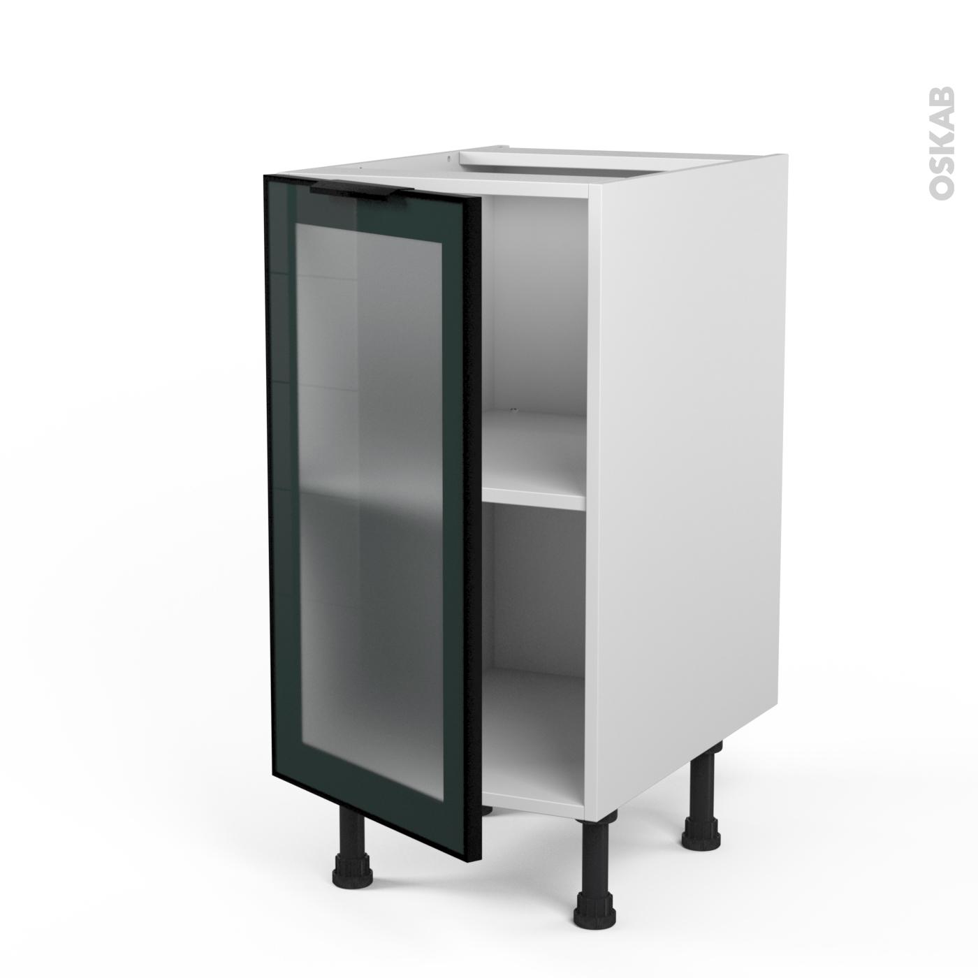 latest meuble de cuisine bas vitr faade noire alu porte l x h x p cm with meuble bas cuisine. Black Bedroom Furniture Sets. Home Design Ideas