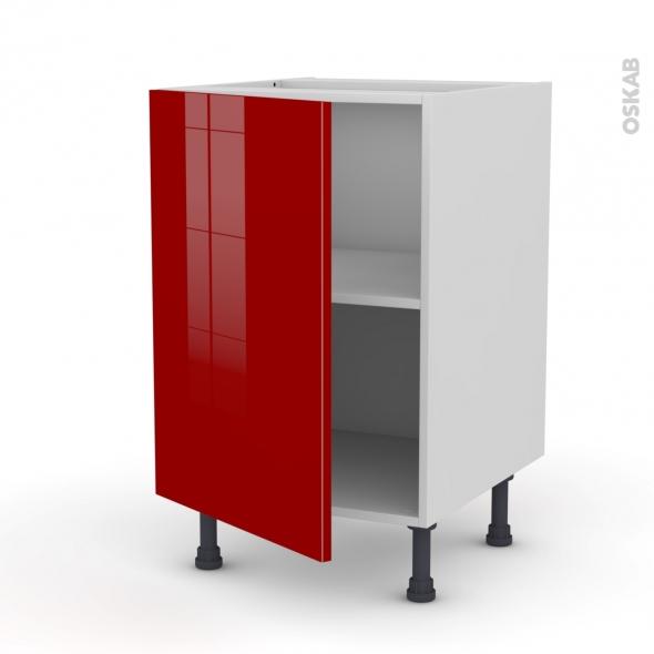 Meuble bas cuisine 1 porte l50xh70xp58 stecia rouge oskab - Meuble de cuisine avec porte coulissante ...
