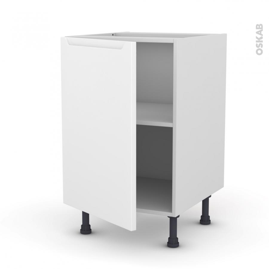 Meuble de cuisine bas pima blanc 1 porte l50 x h70 x p58 for Meuble cuisine bas blanc