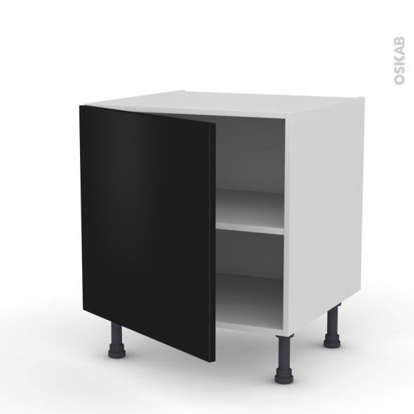 Meuble de cuisine bas ginko noir 1 porte l60 x h57 x p58 for Meuble de cuisine modele