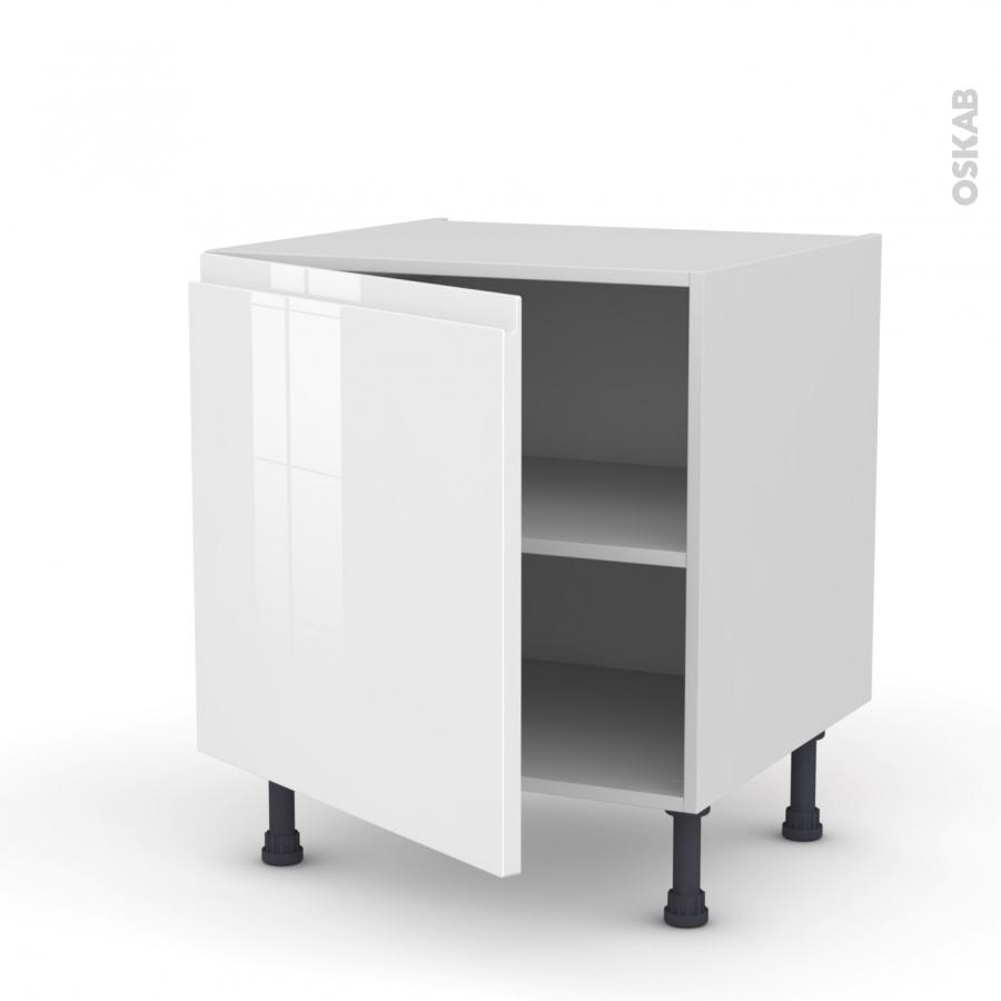 Meuble de cuisine bas ipoma blanc brillant 1 porte l60 x for Meuble blanc de cuisine