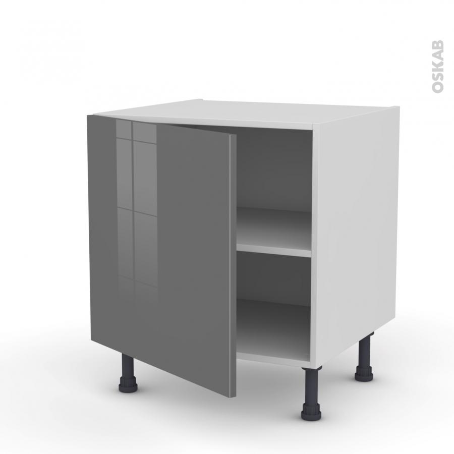 Meuble de cuisine bas stecia gris 1 porte l60 x h57 x p58 for Meuble cuisine sans porte