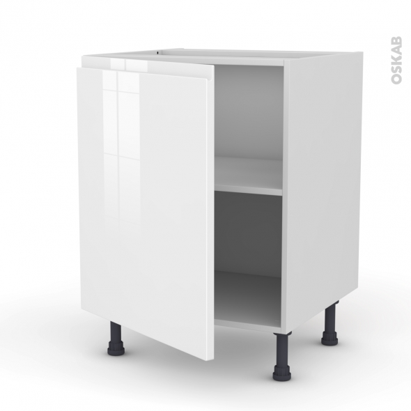 Meuble de cuisine bas ipoma blanc brillant 1 porte l60 x for Modele porte cuisine