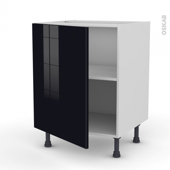 meuble de cuisine bas keria noir 1 porte l60 x h70 x p58 cm oskab. Black Bedroom Furniture Sets. Home Design Ideas