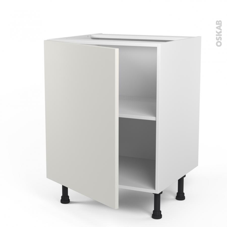 Meuble de cuisine bas ginko blanc 1 porte l60 x h70 x p58 for Meuble cuisine bas blanc