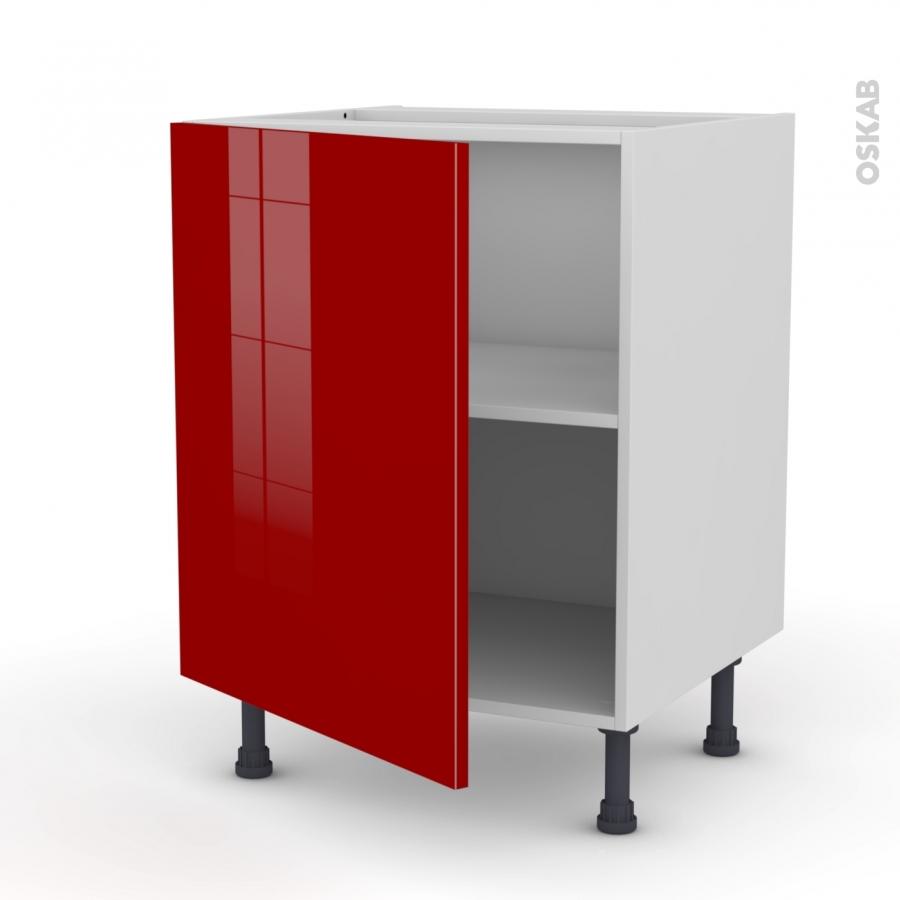 Meuble de cuisine bas stecia rouge 1 porte l60 x h70 x p58 for Porte 60 x 70