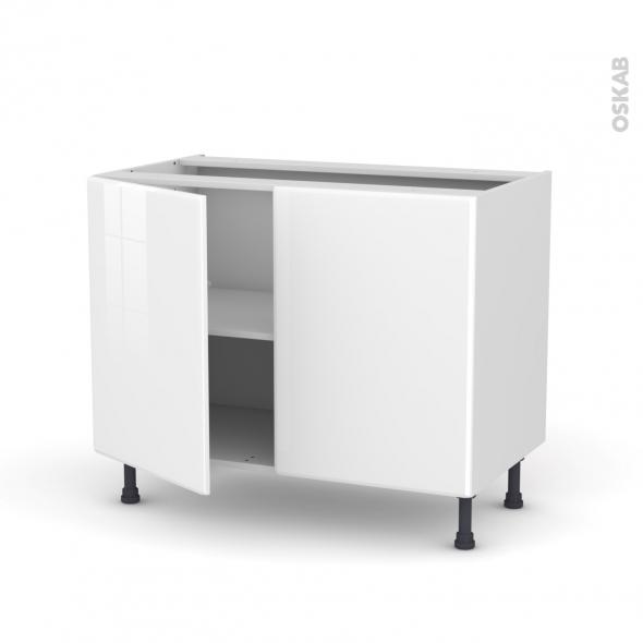 Meuble de cuisine bas iris blanc 2 portes l100 x h70 x p58 - Meuble blanc de cuisine ...
