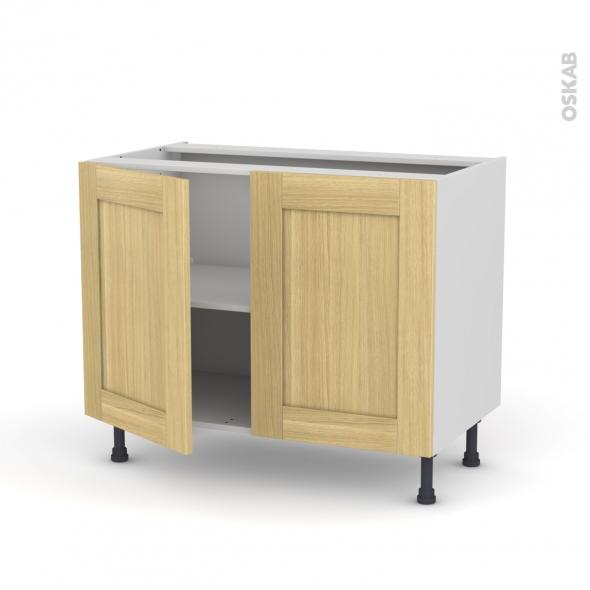 Basilit bois brut meuble bas cuisine 2 portes l100xh70xp58 for Porte de cuisine en bois brut