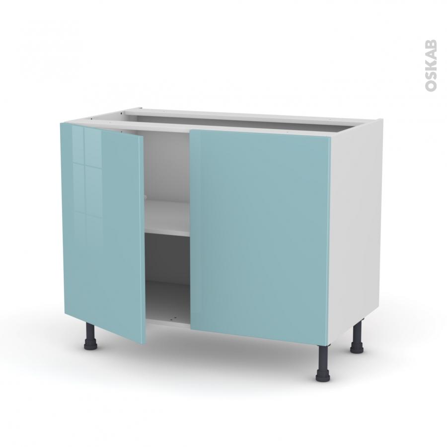 Meuble de cuisine bas keria bleu 2 portes l100 x h70 x p58 for Meuble cuisine 100 cm