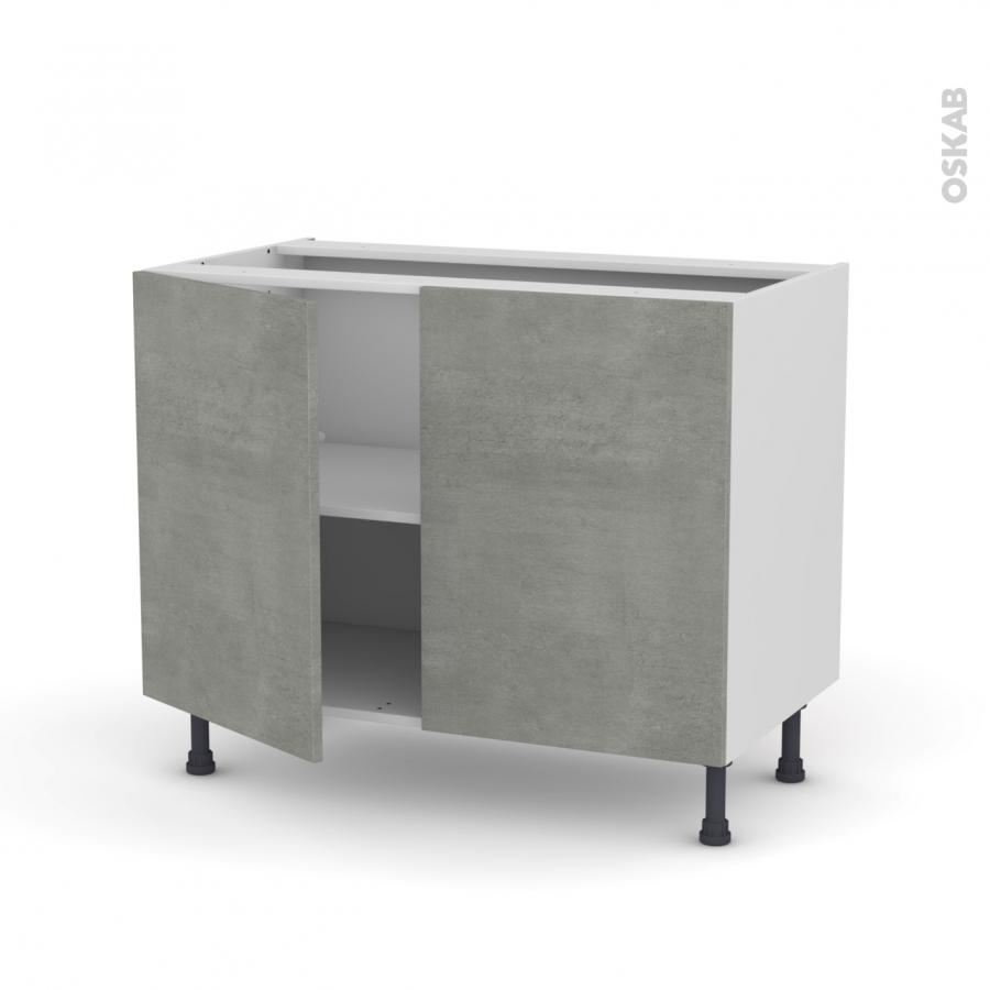 meuble de cuisine bas fakto b ton 2 portes l100 x h70 x p58 cm oskab. Black Bedroom Furniture Sets. Home Design Ideas