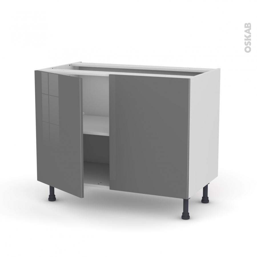 meuble de cuisine bas stecia gris 2 portes l100 x h70 x p58 cm oskab. Black Bedroom Furniture Sets. Home Design Ideas