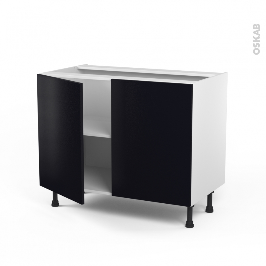 meuble de cuisine bas ginko noir 2 portes l100 x h70 x p58 cm oskab. Black Bedroom Furniture Sets. Home Design Ideas