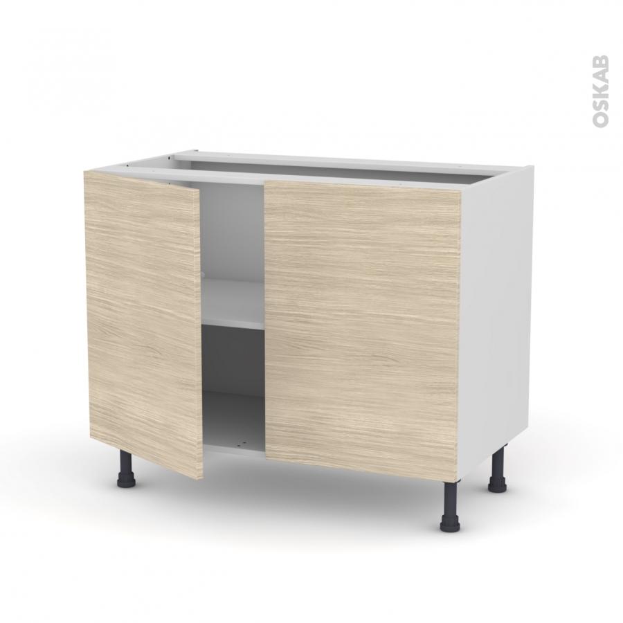 meuble de cuisine bas stilo noyer blanchi 2 portes l100 x h70 x p58 cm oskab. Black Bedroom Furniture Sets. Home Design Ideas