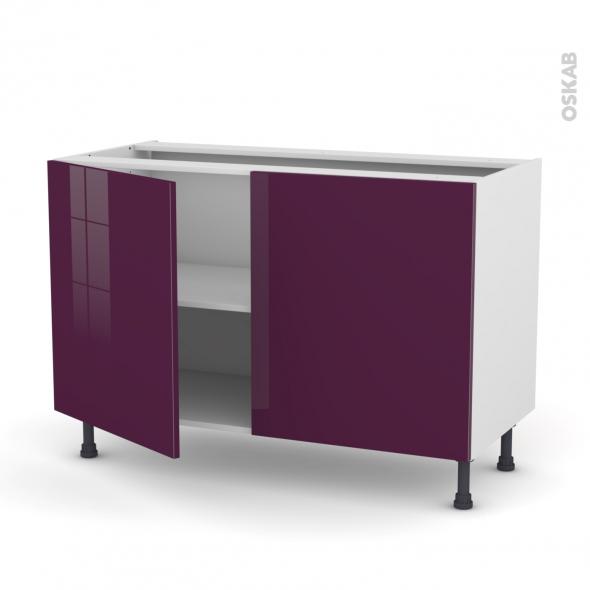meuble de cuisine bas keria aubergine 2 portes l120 x h70 x p58 cm oskab. Black Bedroom Furniture Sets. Home Design Ideas