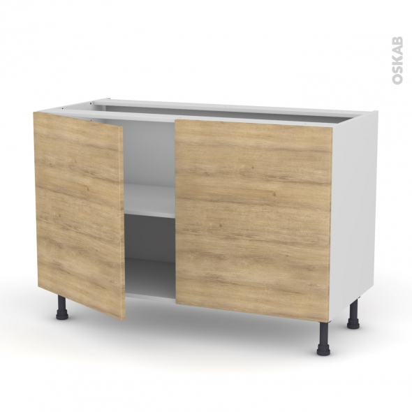 Meuble de cuisine bas hosta ch ne naturel 2 portes l120 x for Modele de meuble de cuisine