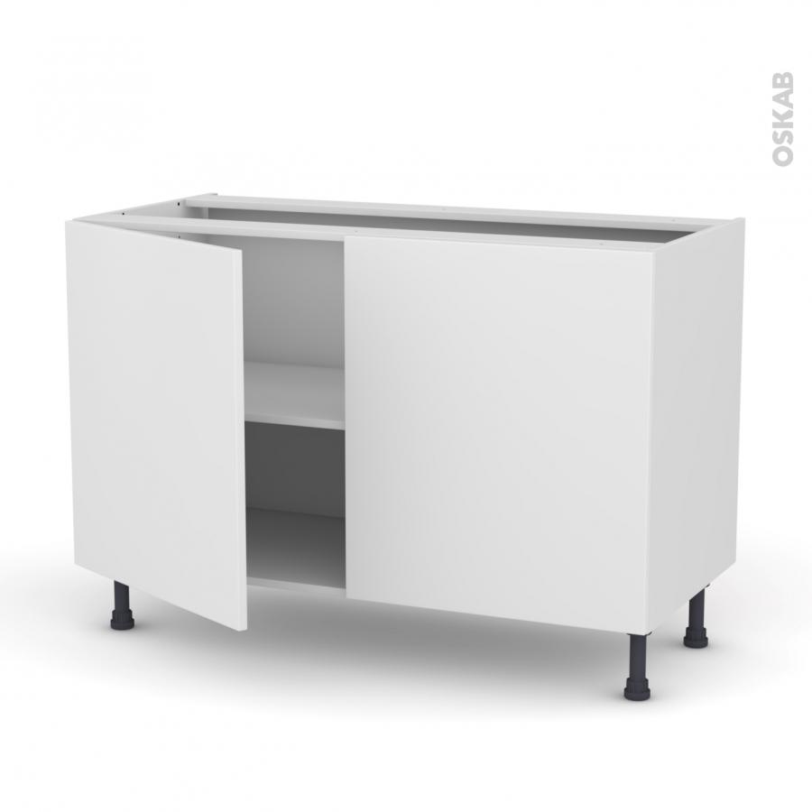 Meuble de cuisine bas ginko blanc 2 portes l120 x h70 x for Meuble cuisine bas blanc