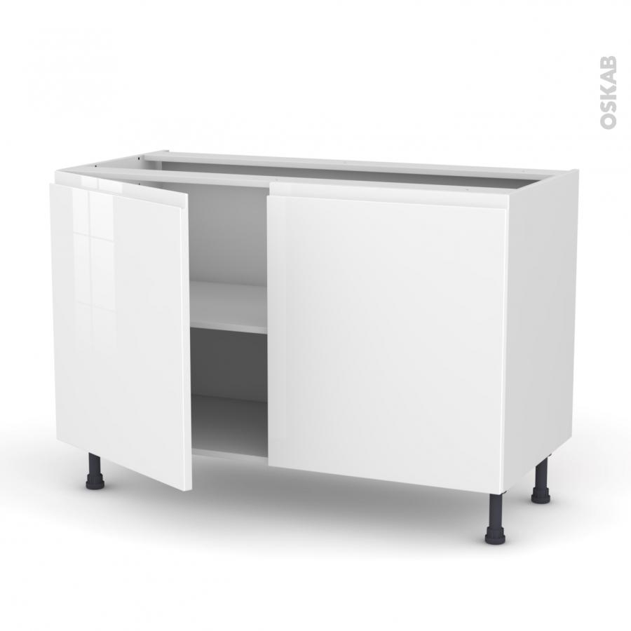Meuble de cuisine bas ipoma blanc brillant 2 portes l120 x for Meuble cuisine bas 2 portes