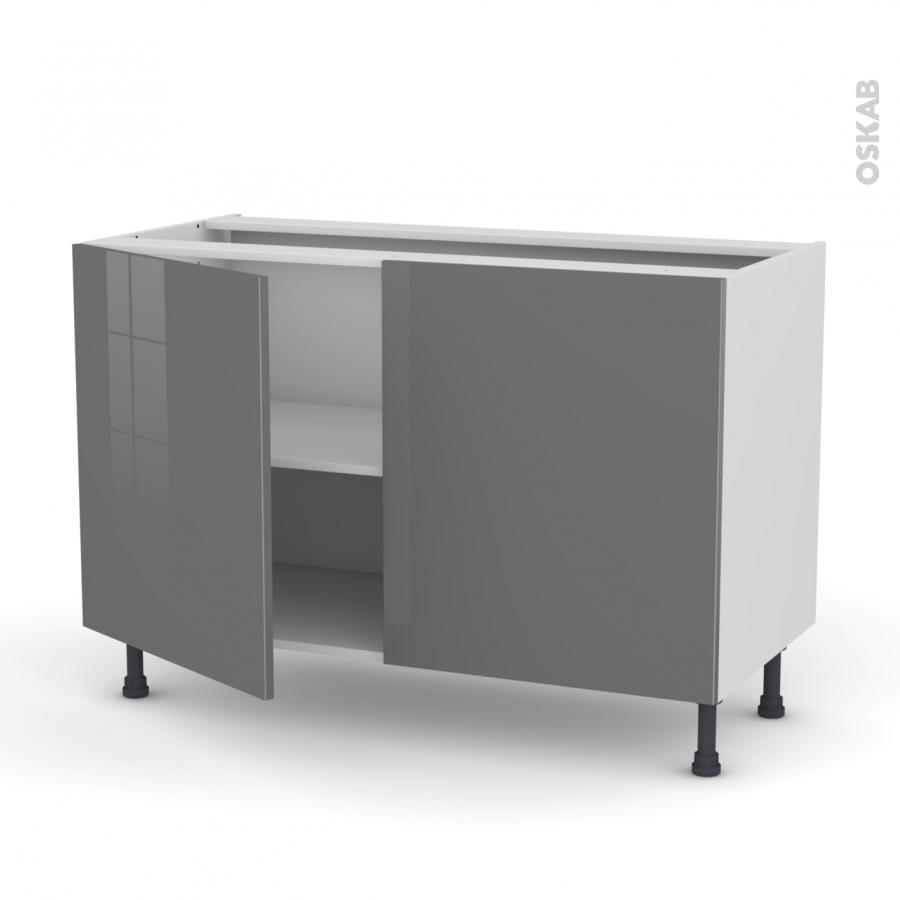 Meuble bas cuisine 2 portes l120xh70xp58 stecia gris oskab - Meuble bas cuisine gris ...