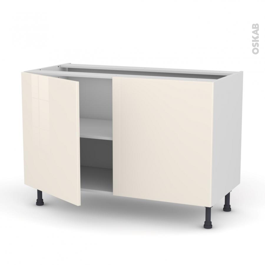 Meuble de cuisine bas keria ivoire 2 portes l120 x h70 x for Meuble cuisine sans porte