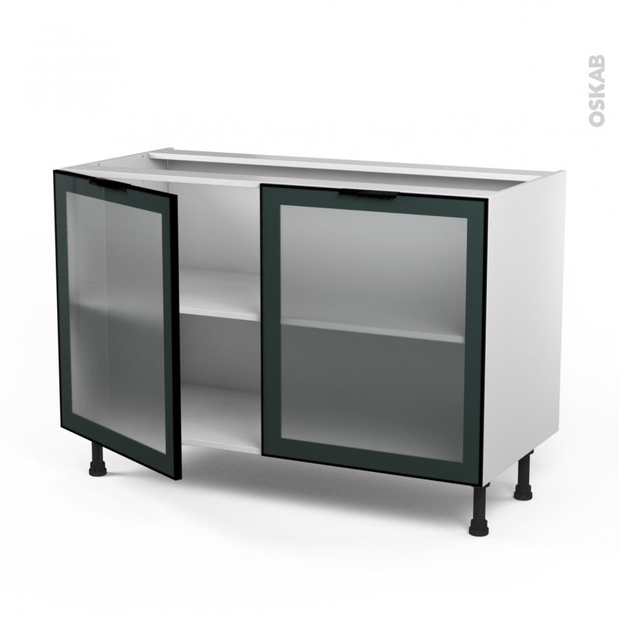Meuble de cuisine bas vitr fa ade noire alu 2 portes l120 for Meuble avec porte vitree