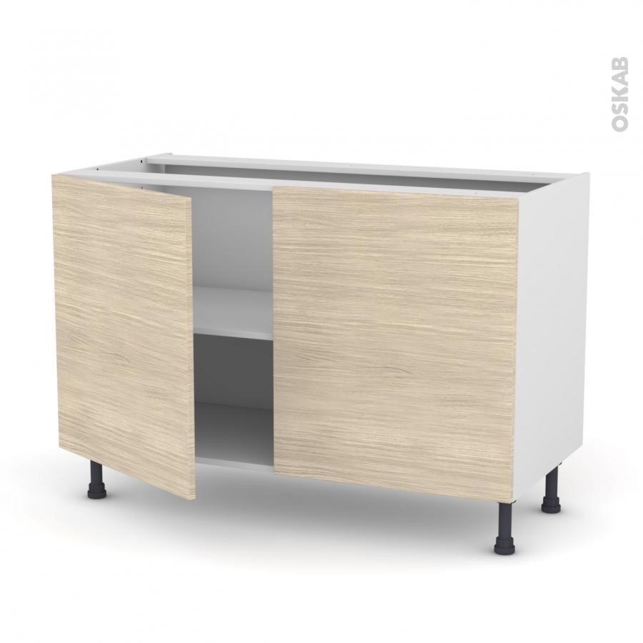 Meuble de cuisine bas stilo noyer blanchi 2 portes l120 x for Meuble bas cuisine 20 cm