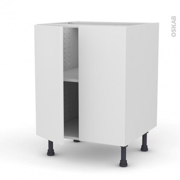 Meuble de cuisine bas ginko blanc 2 portes l60 x h70 x p58 - Meuble bas cuisine blanc ...