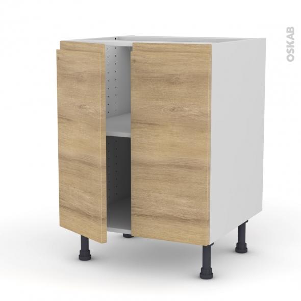 Ipoma ch ne naturel meuble bas cuisine 2 portes for Modele porte de cuisine
