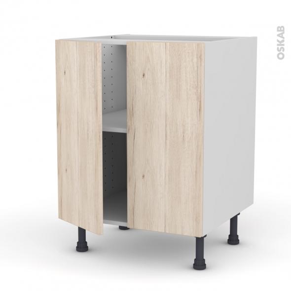 Ikoro ch ne clair meuble bas cuisine 2 portes l60xh70xp58 for Porte cuisine chene