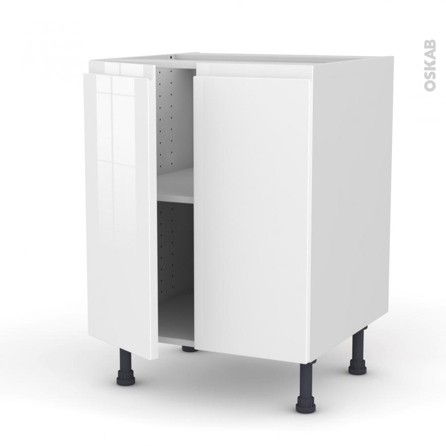 Meuble de cuisine bas ipoma blanc brillant 2 portes l60 x for Porte cuisine blanc brillant