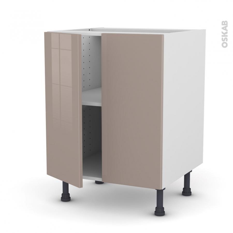 Meuble de cuisine bas keria moka 2 portes l60 x h70 x p58 for Meuble cuisine sans porte