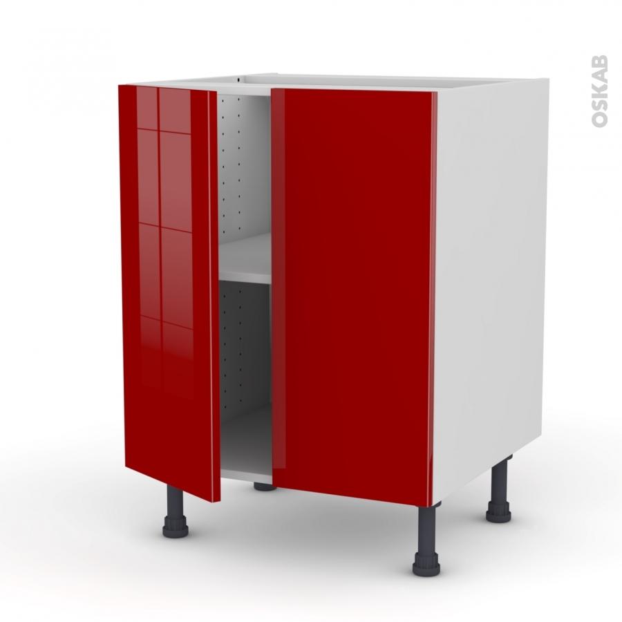 Meuble de cuisine bas stecia rouge 2 portes l60 x h70 x for Meuble bas cuisine rouge